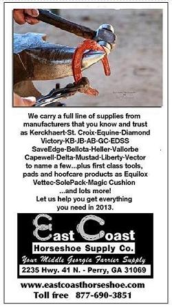 East Coast Horseshoe ad in The American Farriers Journal